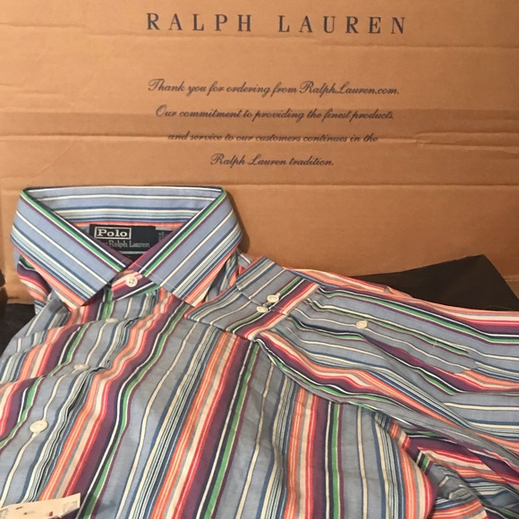 POLO RALPH LAUREN ORANGE GREEN BLUE STRIPED DRESS SHIRT NWT